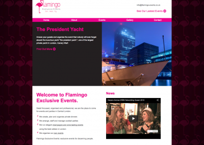 Flamingo Exclusive Events Branding and Website