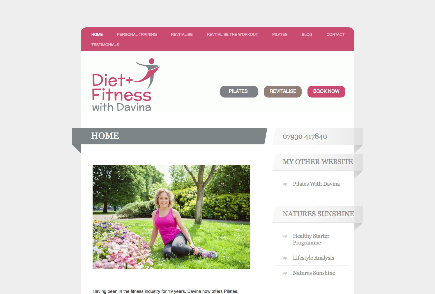 Diet and Fitness with Davina website redesign